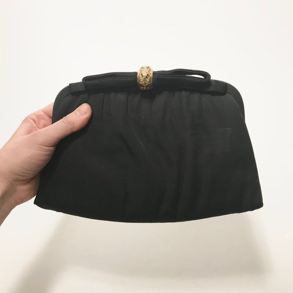 1950s Black Evening Clutch Bag - Gold Accent & Bow